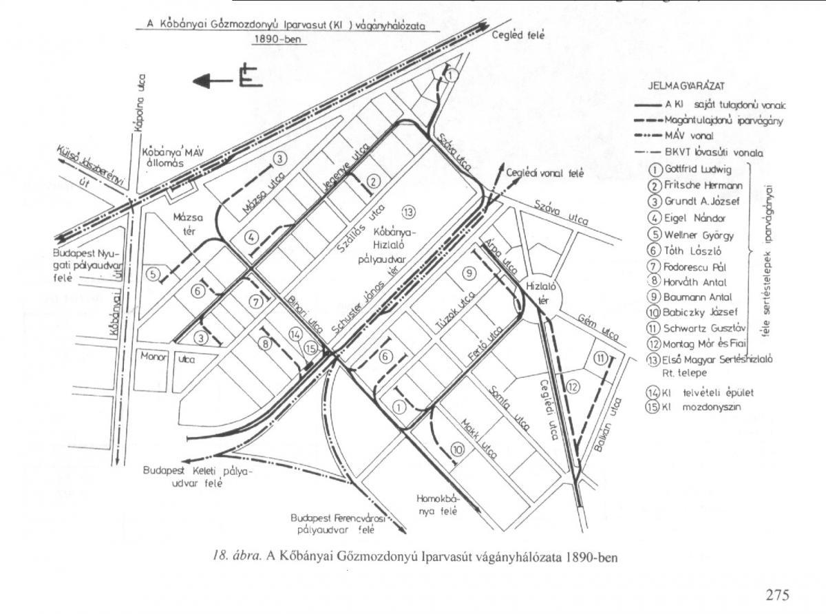 Kőbányai iparvasút hálózat 1890